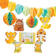 again...cheaper :)  Lion King Baby Decorating Kit - OrientalTrading.com