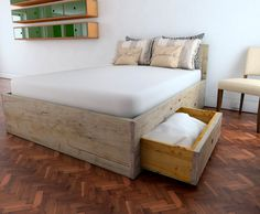 This fully slatted uniquely sprung bed base can be made to any size mattress (see below). Solid pine drawers with super smooth push to open action. Finished bare wood, clear wax or a Lime wax. For mattress sizes: Double 135cm x 190cm King size 150cm x 200cm Super king size 180cm x 200cm