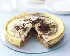 Chocolate marbled cheesecake recipe - Cream cheese and dark chocolate cheesecake toppings are swirled together in this decadent dessert from Tristan Welch
