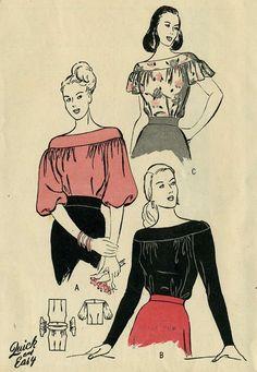 Vintage 50s Butterick 4426 señoritas lujo femenino yugo blusa