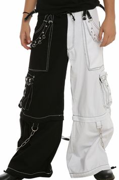 Tripp Black and White Two Tone Pants with Zip Off Legs to Shorts are New and in stock at www.goneblue.com. #Tripp #tripnyc #trippants #pants #widelegpants #widepants #goth #rave #raver #raverpants #ravepants #clothes #fashion #style #streetwear #streetwearstyle #rad