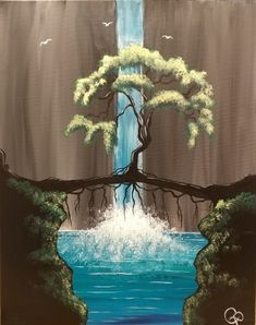 Join us for a Paint Nite event Thu Oct 12 2017 at 225 South Trail Crossing 4307 130 Ave SE Calgary AB. Purchase your tickets online to reserve a fun night out! Bridge Drawing, Bridge Painting, Stone Painting, Painting & Drawing, Simple Canvas Paintings, Modern Art Paintings, Canvas Art, Waterfall Paintings, Unique Drawings