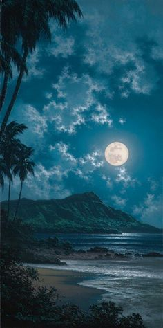 Full Moon in Hawaii! Come fly with Blue Hawaiian Helicopters when you are paradise! www.bluehawaiian.com