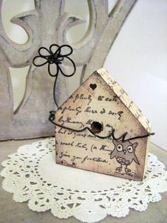 Owl   Primitive Folk Art Style Miniature Bird House by hartstringz, $12.00
