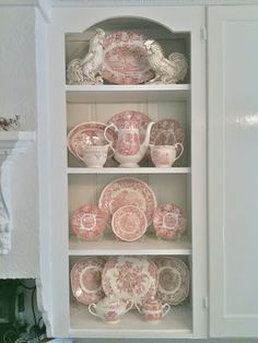 Blue Gray Vintage Cupboard - Hutch - Cabinet with Red Transferware from French Country Cottage