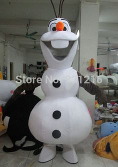 Smiling Olaf Mascot Costume Cartoon Character Costume