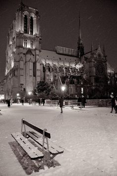 Photograph Notre Dame sous la neige by Philippe Dumont on 500px -  #paris #france #black and white #night #snow