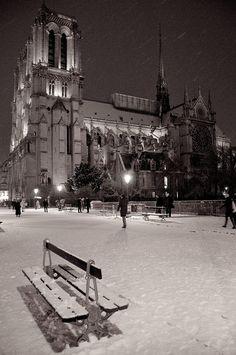 Photograph Notre Dame sous la neige by Philippe Dumont on 500px -  #paris #france #black and white #night #snow