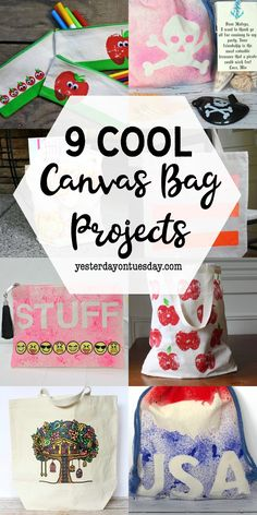 DIY Canvas Bag Projects: Directions for how to personalize and decorate canvas bags with paint, puffy paint, apple stamping and more!   canvas   canvas bags   tote bags   pencil pouch   apples   kids crafts  