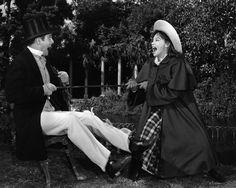 "Louis Jourdan and Leslie Caron behind the scenes filming ""Gigi"" ( 1958 )"