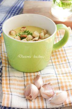zupa czosnkowa, krem czosnkowy, krem z cozsnku, zupa krem czosnkowa, przepis na zupę z czosnku Garlic Soup, Potato Salad, Food And Drink, Potatoes, Vegetables, Tableware, Ethnic Recipes, Kitchen, Dinnerware