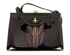 Vintage Pinstriped Purse - Purple and Metallic Gold on Black Handbag