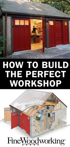 Building the Perfect Workshop Eight workshop designs to show you the best soluti. Building the Perfect Workshop Eight workshop designs to show you the best solutions for building a sweet shop. Woodworking Shop Layout, Woodworking For Kids, Easy Woodworking Projects, Woodworking Plans, Youtube Woodworking, Woodworking Classes, Woodworking Basics, Woodworking Logo, Woodworking Patterns