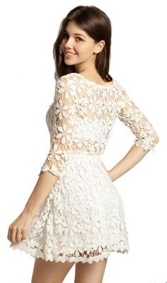 Amazon.com: Lookbookstore Women Lace Crochet Hem Floral Cut Out Crop Sleeve Neckline Dress: Clothing