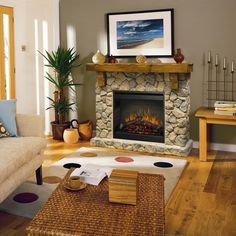 Dimplex Flat-Wall Fireplaces Rustic Fieldstone Flat-Wall Fireplace - Wolf Furniture - Fireplace Pennsylvania, Maryland, Virginia