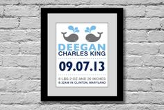 Whale Birth Print (Baby Name with Birth Stats) You Pick Colors 11x14: Nursery Wall Art, Whales, Shower Gift