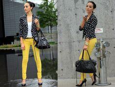 Maytedoll: Polka Dot blazer and yellow jeans.