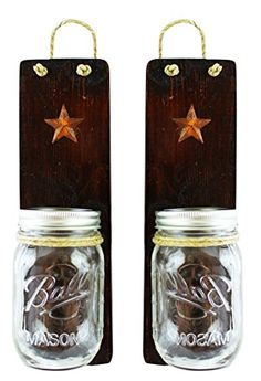 Rustic Wall Sconces Set of 2  Primitive Country Decor  Candles Holders Vases Utensil Caddy Bathroom Organizer  1 Housewarming Wedding Shower Gift Dark Honey * More info could be found at the image url.
