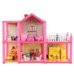 47.50$  Buy here - http://ali9tb.worldwells.pw/go.php?t=32751113794 - 2 floors 5 rooms + 1 Recreation area Dollhouse DIY Assembled Kit Toy in original box and with all the accessories in the picture 47.50$