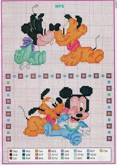 Mickey and Friends Disney Babies Disney Stitch, Disney Babys, Baby Disney, Disney Cross Stitch Patterns, Cross Stitch Designs, Cross Stitch Baby, Cross Stitch Charts, Cross Stitching, Cross Stitch Embroidery