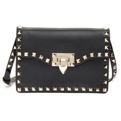 Valentino 'Rockstud' Calfskin Leather Shoulder Bag ($1,295) ❤ liked on Polyvore featuring bags, handbags, shoulder bags, black, structured handbag, shoulder bag purse, shoulder handbags, structured purse and valentino purses