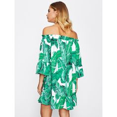 Bardot Frill Trim Jungle Print Dress ($11) ❤ liked on Polyvore featuring dresses, flouncy dress, print dress, white colour dress, white dress and white ruffle dress
