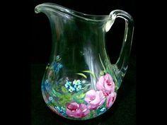Pintando Rosas - jarra de vidro - YouTube