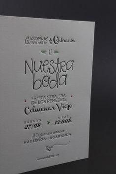 Diseños de invitaciones de boda originales, elegantes y exclusivas, la mayoría de ellas utilizando la técnica de letterpress y papeles especiales.