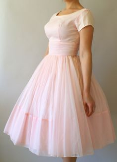 Vintage 1950s Pink Chiffon Party Dress - 50s Full Skirt Wedding Dress -  from Sweet Bee Finds