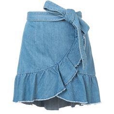 Paige ruffled wrap denim skirt (332 CAD) ❤ liked on Polyvore featuring skirts, blue, paige denim skirt, blue ruffle skirt, frilled skirt, blue skirt and knee length denim skirt