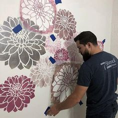 Wall Painting Decor, Stencil Painting On Walls, Mural Wall Art, Home Wall Art, Stencil Decor, Wall Stencil Patterns, Creative Wall Decor, Creative Walls, Stenciled Floor