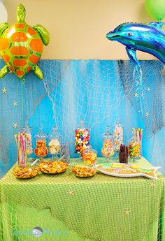 Candy table  - Michelle's Party Plan-It: An Under the Sea Party for Logan & Landon