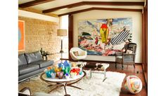 Love the eclectic mix of furniture and art  Interiors - Annie Schlechter