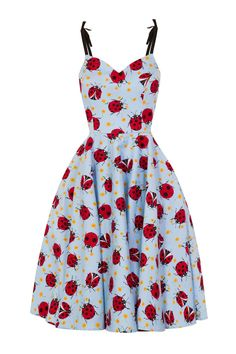 """The cutest pale blue cotton dress with a fun red ladybug print! The straps are adjustable and decorated with a little black bow! Sweetheart neckline and A line style skirt! Zips up the back and has pockets! Fabric: 98% cotton, 2% elastane please see measurements as this style runs a bit on the large side Measurements: X-Small: 33"""" bust, 27"""" waist Small: 35"""" bust, 28""""/29"""" waist Medium: 37"""" bust, 31"""" waist Large: 39"""" bust, 33"""" waist X-Large: 41""""bust, 35"""" waist"""