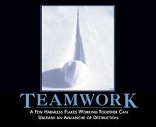 Teamwork: A few harmless flakes working together can unleash an avalanche of destruction.
