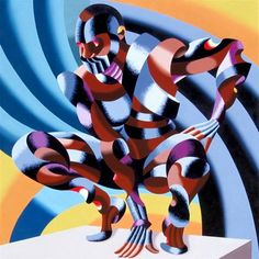 """Daily Paintworks - """"Mark Webster - Edison - Abstract Geometric Futurist Figurative Oil Painting"""" - Original Fine Art for Sale - © Mark Webster"""