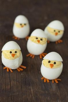 Skip the plain old deviled eggs for these adorable hatching chicks. They're sure to be the hit of your Easter brunch