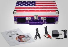 Portable Vintage 3 Speed Turntable Vinyl Record Player USB MP3 Audio USA Flag #PortableVintage3