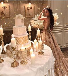 Gold Wedding Cakes Sleeveless Long Shinning Sparkly New Arrival Unique Prom Dresses, party gown, evening dress, Quinceanera Decorations, Quinceanera Party, Themes For Quinceanera, Gold Prom Dresses, Unique Prom Dresses, Sweet 16 Dresses Gold, Gold Quinceanera Dresses, Long Dresses, Gold Dress