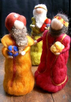 The three wise men, Magi, Needle felted Nativity Set, Waldorf inspired, Bethlehem, Kings of the east. via Etsy.