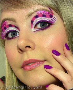 This is super cute for the cheshire cat, if you don't want to cover your whole face pink and purple