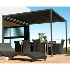 pergola adoss e en aluminium couverture coulissante en. Black Bedroom Furniture Sets. Home Design Ideas