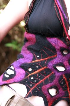 Nuno felted clothing - Felt Halter Top - Silk and Wool - Black Purple- Huntress Vest Top - Ready to Ship.. $135.00, via Etsy.