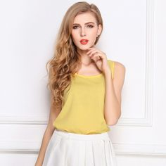 3a10dc3a3f9eb2 New Fashion Women Tank Top Chiffon Candy Color Crew Neck Sleeveless Casual  Vest Blouse Tops Models