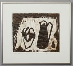Ahti Lavonen: Kannusommitelma, 1956, puupiirros, 43x52 cm, edition 20 - Bukowskis Market 2013