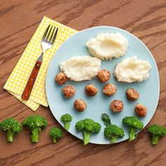 "Fun food - Cloudy with a chance of meatballs - made for dinner (and even had several food groups covered too! :)  Used barefoot contessa's recipe for roasted broccoli...but even still couldn't get my son to eat anything ""green""!  Still cute idea and the whole family enjoyed, but I was hoping he would get distracted by the idea and try the ""green stuff""."