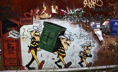 In het Exarchiadistrict van Athene zijn de Daltons uit de Lucky Luke-strips afgebeeld, in een tekening die een protest vormt tegen de strenge bezuinigingen die de Griekse overheid heeft uitgevoerd.