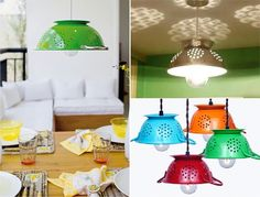 More strainer ceiling lamp shades Colander Light, Casa Pop, Ceiling Lamp, Ceiling Lights, Recycled Lamp, Glow Stones, Kitchen Lamps, Light Shades, Lamp Shades