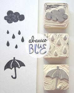 Sello goma paraguas lluvia nube