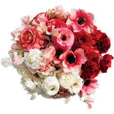Red Ombr Wedding Bouquet ❤ liked on Polyvore featuring home, home decor, floral decor, flowers, fillers, wedding, plants, backgrounds, flower bouquet and red home decor